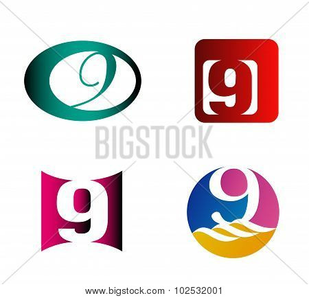 Number nine logo template. Abstract icon