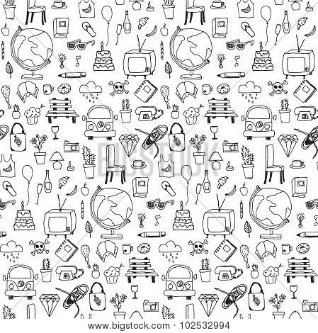 Everyday Things, Hand drawn, Black And White, Seamless Pattern