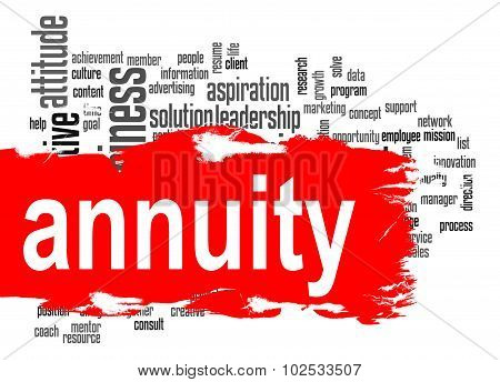 Annuity Word Cloud With Red Banner