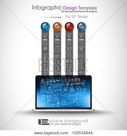 Clean Infographic Layout Template for data and information analysis with a number of solutions available. Ideal for product presentation, item ranking, ideas evaluation and so on.