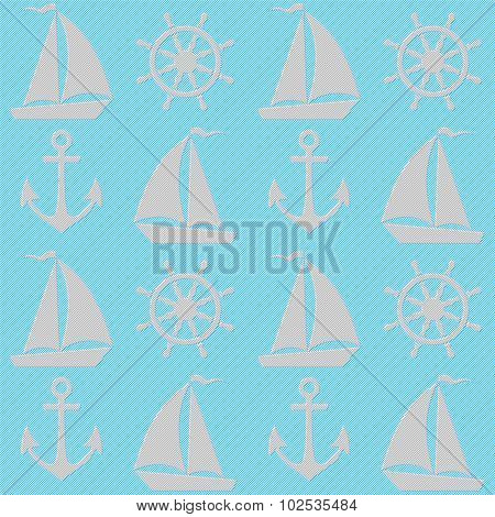 Blue Seamless Pattern With Boats, Anchors And Helms.