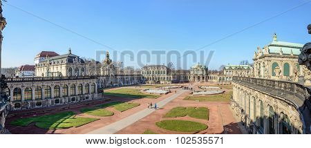 Panoramic view from curved terrace near Carillon (Glockenspiel) Pavilion toward courtyard of Zwinger