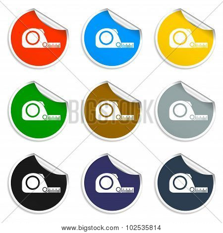 Tape Measure Icon. Roulette Construction  Simbol
