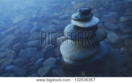 Zen Balance Rocks Pebbles Covered Water Concept