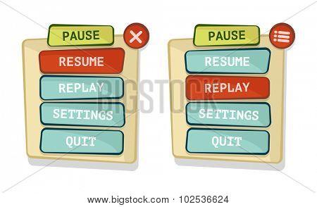 Vector simple game menu interface