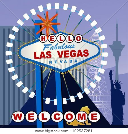 Las Vegas Sign altered to say HELLO