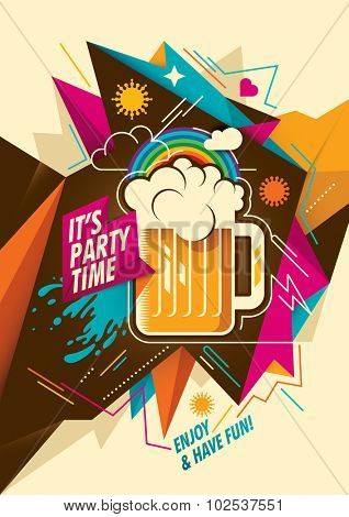 Party background with mug of beer. Vector illustration.