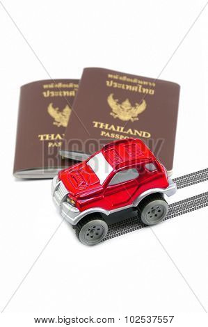 Thailand Passport And Red 4Wd Car For Travel Concept