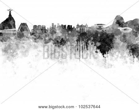 Rio De Janeiro Skyline In Black Watercolor