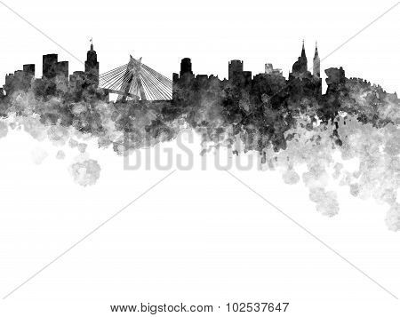 Sao Paulo Skyline In Black Watercolor