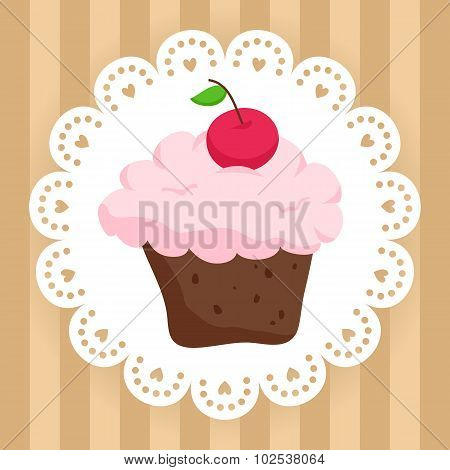 Chocolate Cupcake With Cherry On Cute Napkin