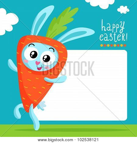 Easter Greeting Card Template With Bunny In Carrot Costume