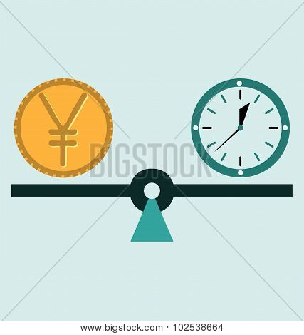 Business Concept With Clock And Yen