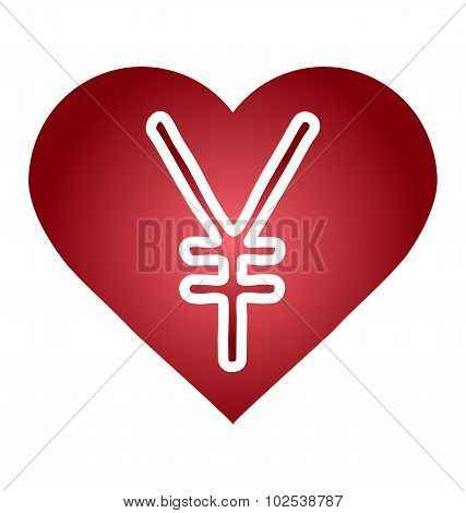 Yen Jpy Currency Symbol. Heart With A Currency Icon.