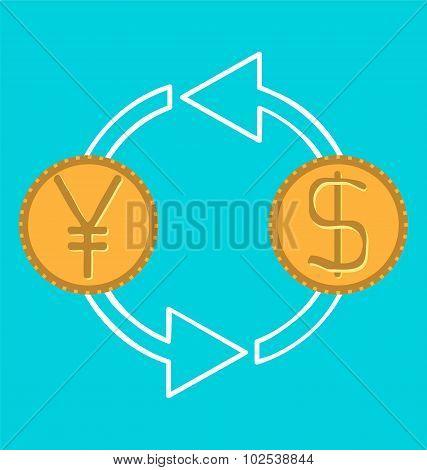 Money Exchange Concept, Yen To Dollar