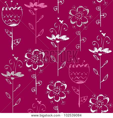 Seamless Pattern With Light Sketch Flowers On Magenta Background