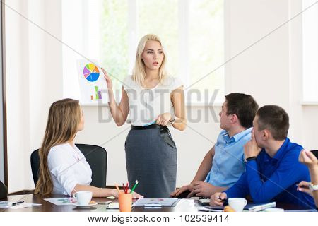 Team Members Listening Attentively To A Business Woman Holding A Presentation
