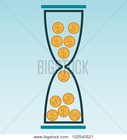 Gold Coins In Hourglass Trumble Down, Time Is Money