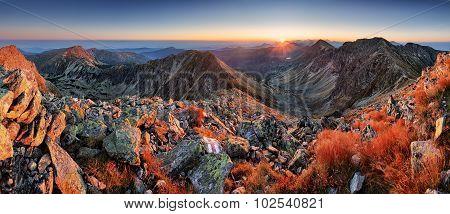 Panorama Of Beaufiful Slovakia Moutain At Sunrise, Rohace Tatra