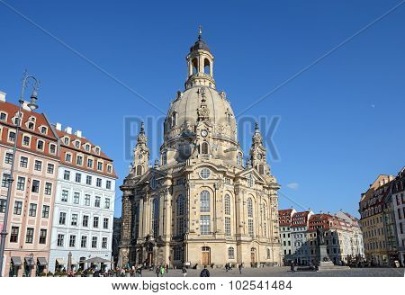 View Of Neumarkt Square In Dresden Historical Center, Saxony, Germany.