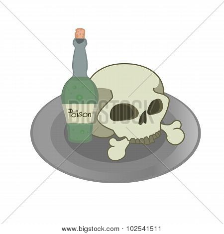 Skull on plate illustration