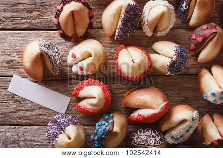 Fortune Cookies Decorated With Candy Sprinkles Closeup. Horizontal Top View