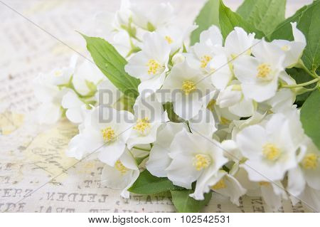 Lily Flowers On A Decoupage Decorated Table