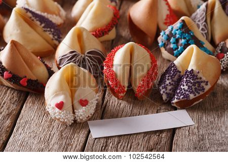 Festive Fortune Cookies Decorated With Candy Sprinkles Closeup. Horizontal