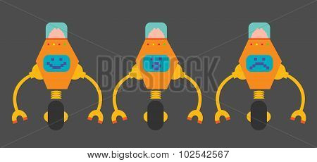 Flat design orange robots