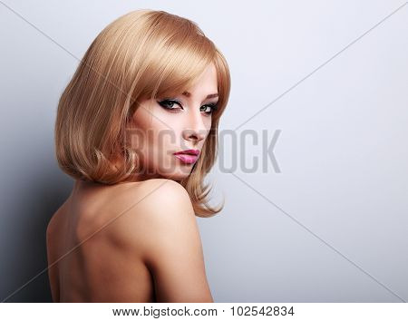 Glamour Makeup Female Model With Blond Short Hairstyle Looking Sexy