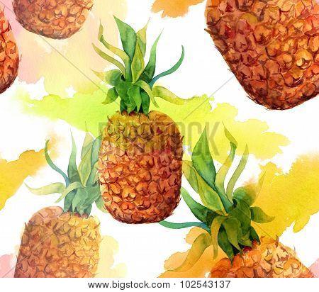 Watercolour pineapple seamless background pattern