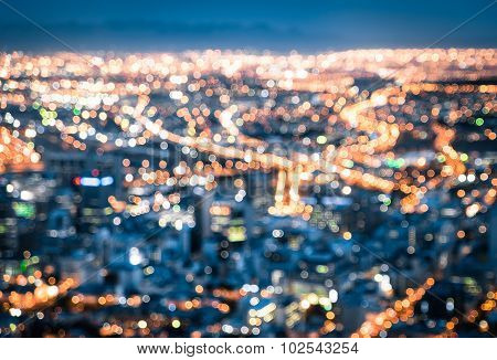 Bokeh Of Cape Town Skyline From Signal Hill After Sunset During The Blue Hour - South Africa