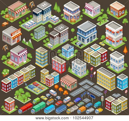 Big Isometric Set Of Buildings And Houses. Infrastructure. Road And Cars. Vector Illustration