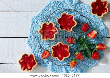 Cake With Strawberry Jelly (shortcrust Pastry), Top View