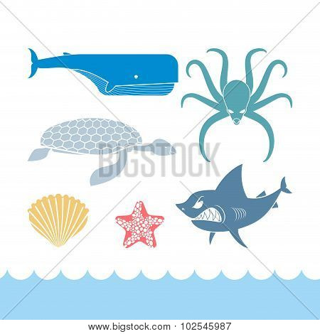 Underwater World Set Flat Icons. Animals Ocean. Shark And Octopus. Tortoise And Whale. Starfish And
