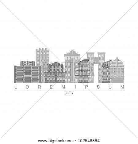 Logo Skyscrapers Of Metropolis. City With High Buildings. Logo For Construction Company