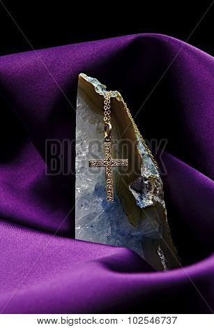 Gold Cross Pendant On Vertical Crystal Stone On Satin