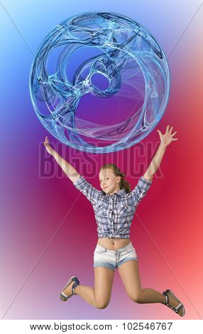 Happy teen girl jumping with ball abstract sphere