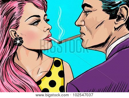 Smoking couple in Pop Art style.Love couple.Pop Art Couple.Pop Art love.Valentines day postcard.