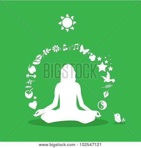 Yoga girl silhouette, yoga icons