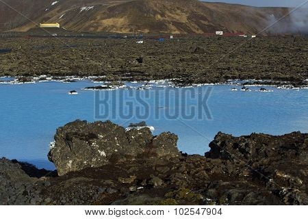 Milky White And Blue Water Of The Geothermal Bath Blue Lagoon In Iceland