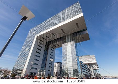 Cologne, Germany - March 8, 2015: Futuristic Crane Houses Called Kranhaus Situated At Rheinau Docks