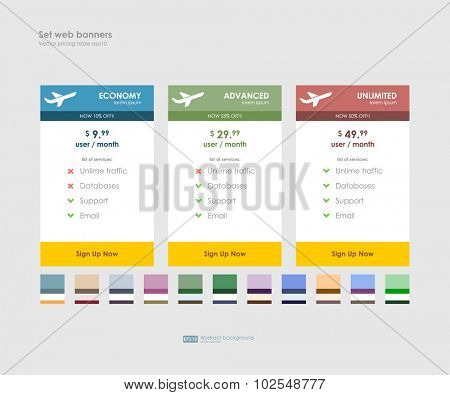 Three tariffs with set of colors themes. Interface for the site. UI UX vector banner for web, app. Pastel pricing table, banner, order, box, button, list and bullet with plan for website