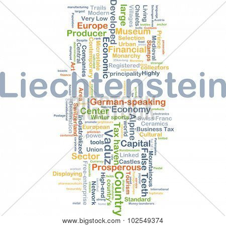 Background concept wordcloud illustration of Liechtenstein