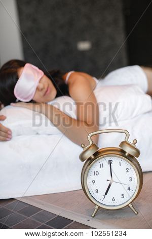 Morning portrait of beautiful woman sleeping in bed