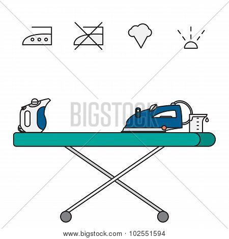 Isolated Steam Iron Icon And Beaker
