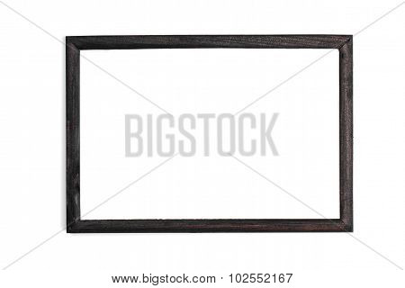 Horizontal White Photo Frame With White Field On White Background Isolated With Real Shadows