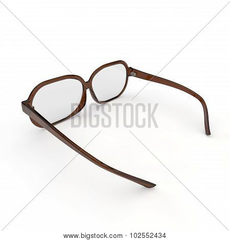 Glasses With Brown Plastic Rim On A White Background