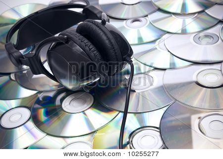 Cds Background And Headphones