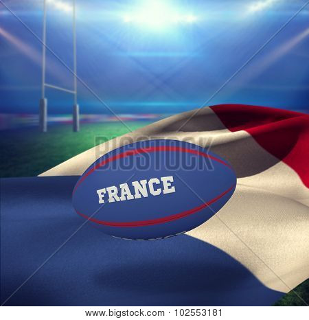 France rugby ball against rugby stadium